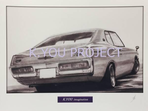 ★鉛筆画 イラスト 旧車 日産 ローレル SGX A4額付 作者直筆サイン入り 300時間以上かけて鉛筆だけで描くアート作品