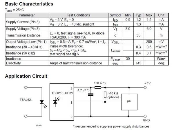 赤外線リモコン用受信モジュールTSOP1837UH3V 36.7 kHz5個送料全国一律定形外郵便120円_画像3