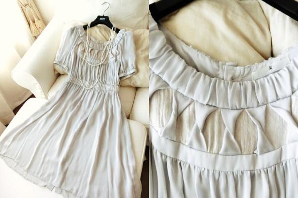 美品◆ナノユニバース◆ふんわり素材のワンピースドレス◆結婚式