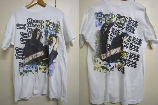 N262☆ビンテージCheep TrickチープトリックTシャツ 白ダメージ