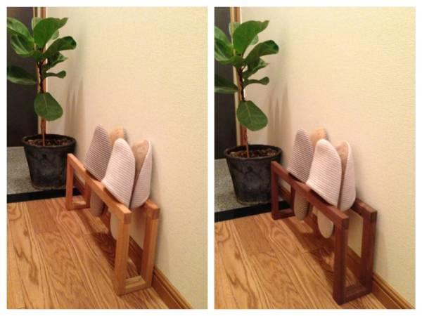 天然木のスリッパラック 手作り スリッパホルダー_(左) タモ材 (右)ウォルナット材