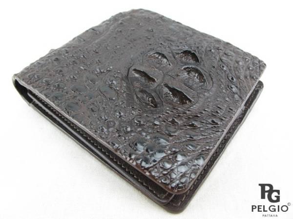 PELGIO☆高級なクロコダイル革の財布★茶色★二折★3_画像1