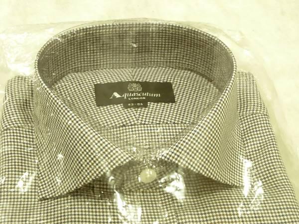 送料510円~税込新品 アクアスキュータム 千鳥格子(白×茶×青) 長袖Yシャツ 43-84 Aquascutum ワイシャツ 綿100%日本製メンズシャツ男性用_メンズシャツ