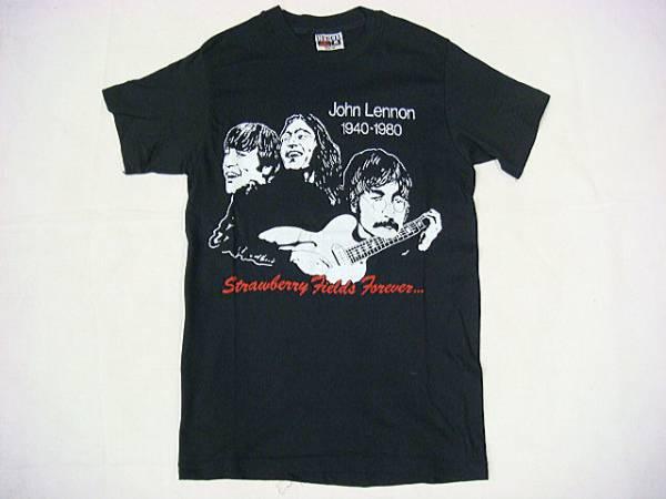 ビンテージ HANES ヘインズ 希少 80S ジョンレノン レア 追悼 プリント Tシャツ 黒 ブラック コットン レア ビートルズ サイズ S