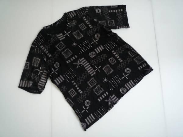 【お買い得!】 ● ミキティ / MIKITY ● 総柄カットソー 黒 半袖 M-L