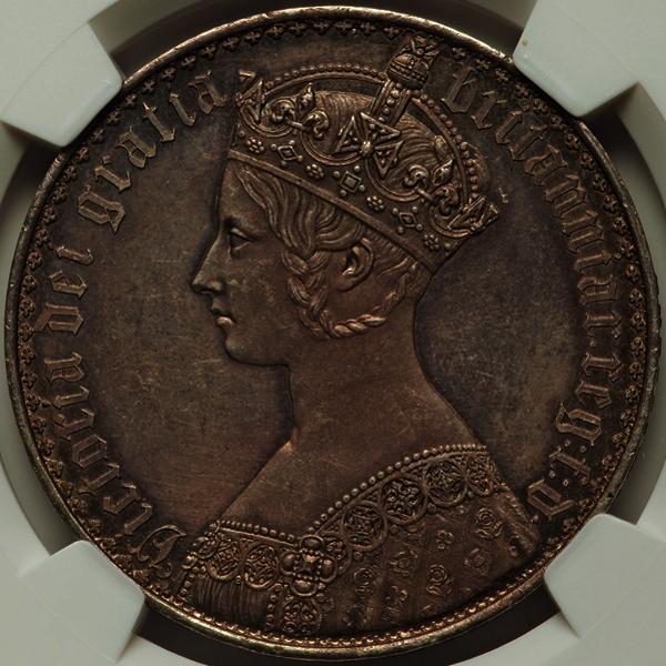 PF62! 英国 1847年ヴィクトリア・ゴシック・クラウン銀貨 NGC