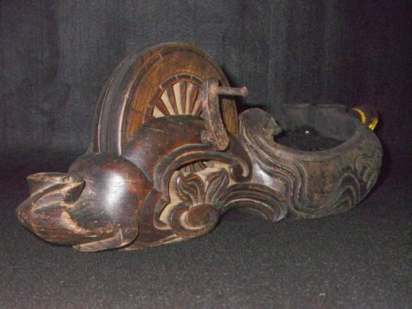 木彫り 墨つぼ 290mm 墨壷 スミツボ 古道具 墨付 墨壺 彫刻 儀式 手彫り 木彫オブジェ