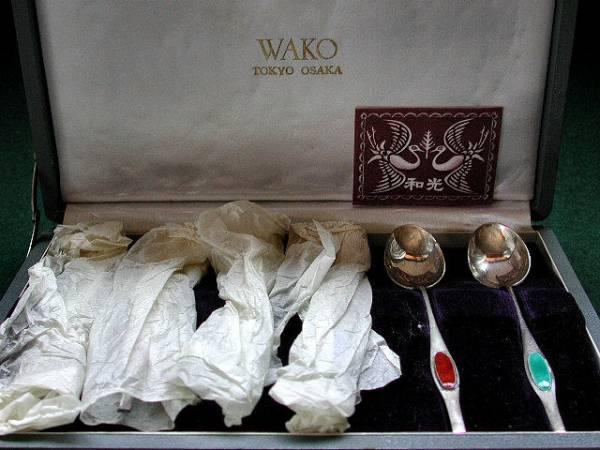 WAKO  銀座和光謹製 銀950七宝匙六本 栞箱古未使用60g