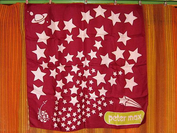 ビンテージ60's70's★ピーターマックス星柄スカーフB★PeterMax_画像1