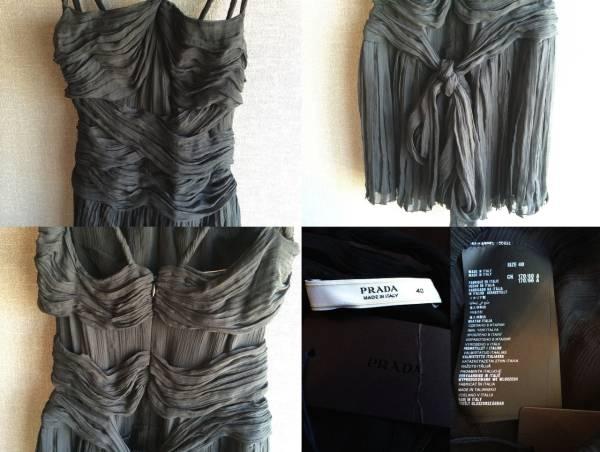 極上 新品 プラダ 最高級 シルク リボン ワンピース ドレス 40 ブラック フォーマル PRADA_画像3