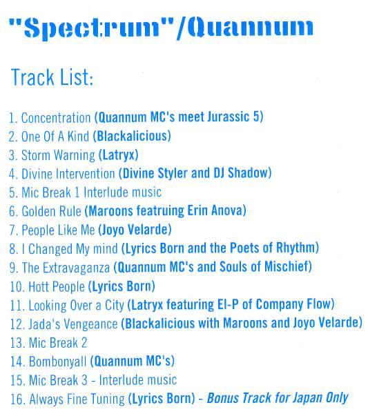 【QUANNUM/SPECTRUM】 国内ボーナストラック収録/DJ SHADOW/BLACKALICIOUS/COMPANY FLOW/CD・帯付/検索mo wax_画像2