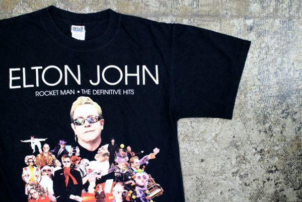 【古着 エルトン・ジョンツアープリントTシャツ黒】イギリス歌手