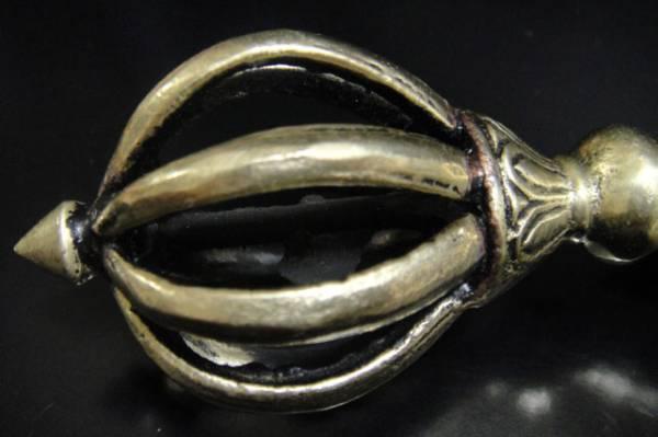 ◆チベット密教法具 九鈷杵(アンティークゴールド)-4