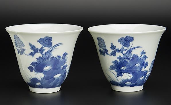清 青花花鳥詩文杯 一對 珍玉堂制款 中国 古美術_画像1