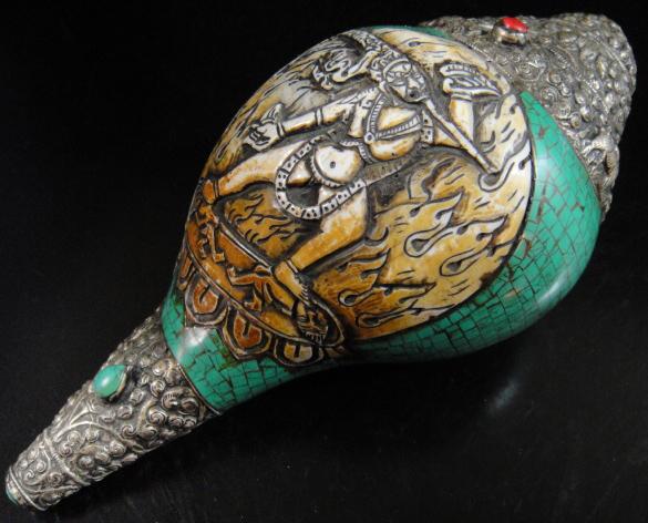 ◆チベット密教法具 法螺貝(シャンカ)ヴァジュラヨーギニー◆