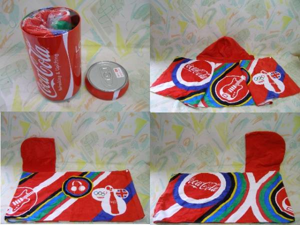 レア!CocaCola!コカコーラ!ビッグ缶!フード付タオル(KO)_画像3