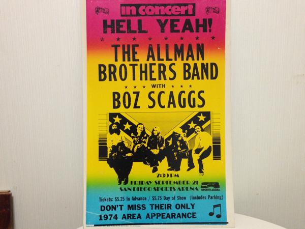 ビンテージ 1974年 オールマンブラザーズ ライブ ポスター