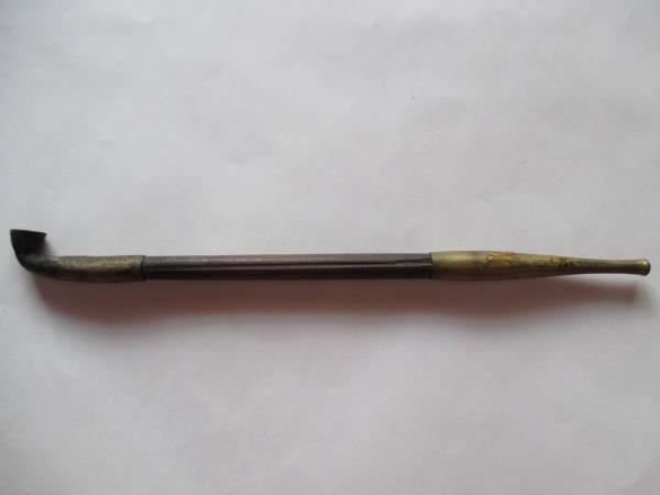 レトロ 骨董 煙管 キセル パイプ 真鍮 煙草 竹製 喫煙具 部品取り_画像1