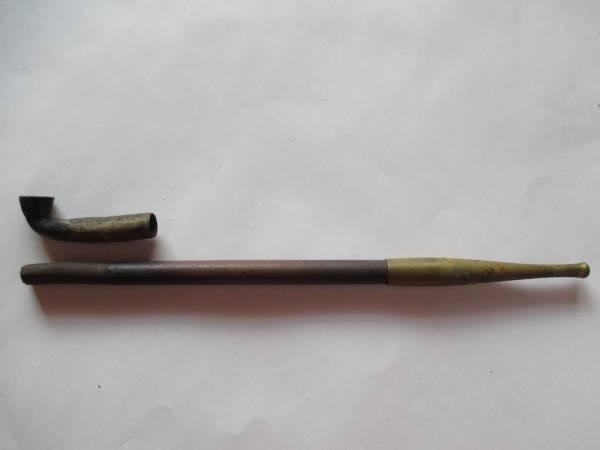 レトロ 骨董 煙管 キセル パイプ 真鍮 煙草 竹製 喫煙具 部品取り_画像2