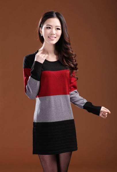 新品/冬暖か着心地の良いカシミヤ混・羊毛チュニックセーターM 赤_画像2