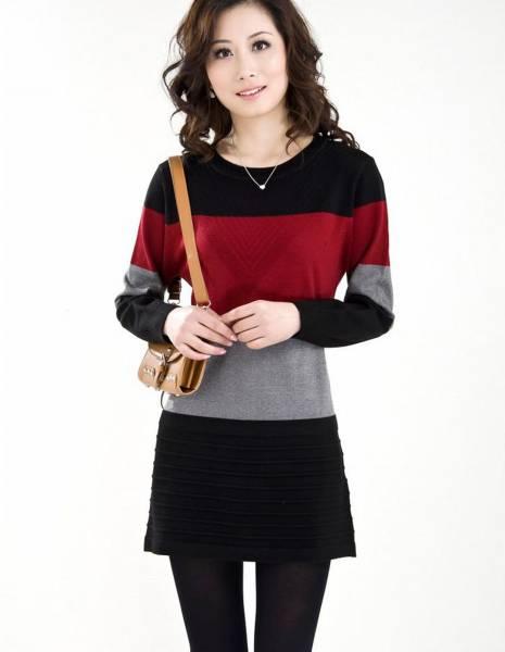 新品/冬暖か着心地の良いカシミヤ混・羊毛チュニックセーターM 赤_画像3