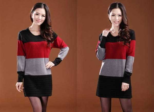 新品/冬暖か着心地の良いカシミヤ混・羊毛チュニックセーターM 赤_画像1
