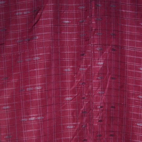 真綿紬 袷着物 小豆色 格子縞_画像3
