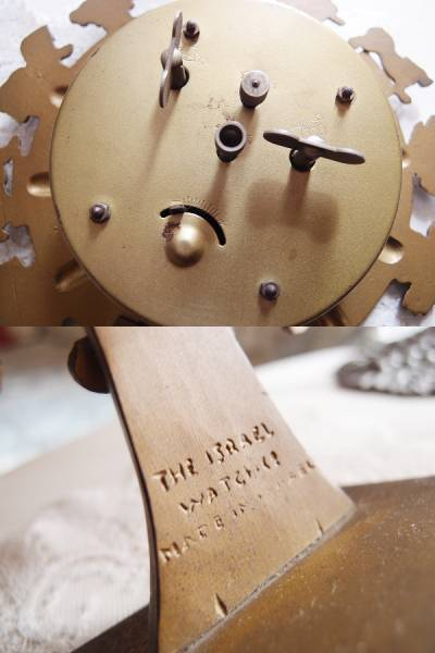 イスラエル製 アンティーク アナログ置時計 星座 金属製 手巻き_画像3