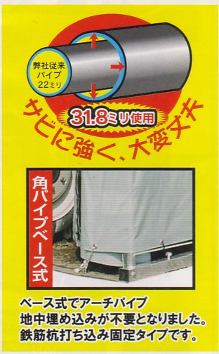 送料込 限定 GR-308H パイプ車庫 車庫 倉庫 物置 ガレージ_画像3