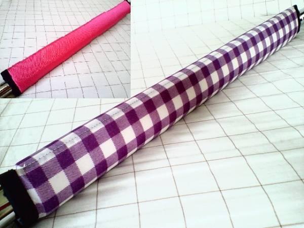 リバーシブルフレームパッド 紫チェック×ピンク★HALDOT ハルドット★ピスト・ロード・クロスバイク自転車_画像1
