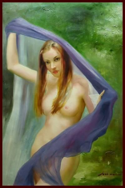油彩画 抜けるような白肌 「青い布と裸婦」     V2α