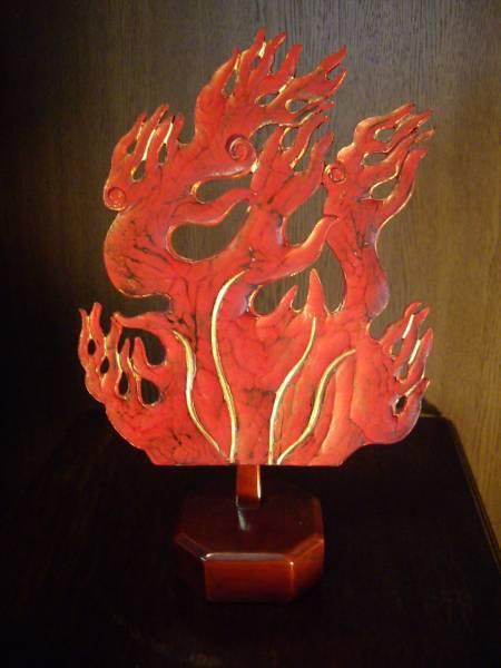 甲冑、鎧、兜、面頬、 ★江戸期の兜の「前立て」  火焔形_「飾り台」付きです。