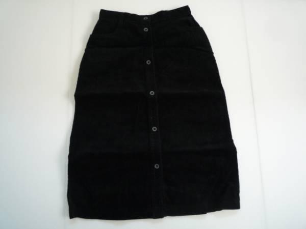 【良品!】 ● バルマン / Valman ● 台形スカート 黒 7分丈 (ウエスト:63 cm)