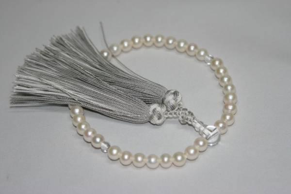 【佐藤仏】本真珠 水晶  銀花かがり房仕立て 正絹房_画像1
