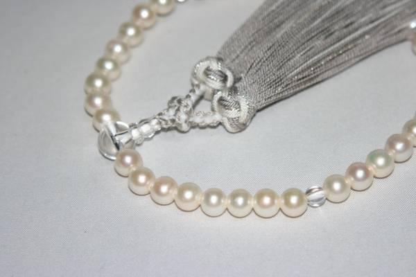 【佐藤仏】本真珠 水晶  銀花かがり房仕立て 正絹房_画像2
