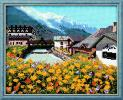 新品★刺繍キット♪麓の街並み クロスステッチ/フランスの風景