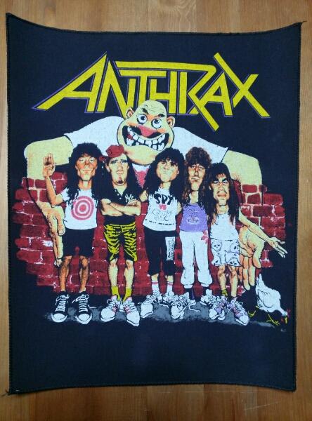 当時物 ANTHRAX プリントバックパッチ ワッペン ヴィンテージ デッドストック / slayer s.o.d metallica