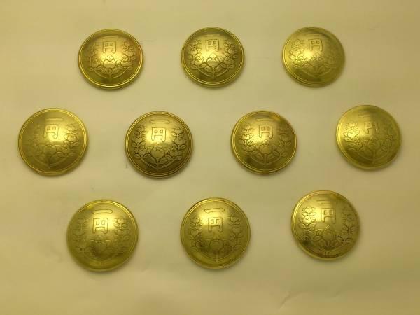 コンチョ 古銭 橘1円黄銅貨 ネジ式 10個_画像1