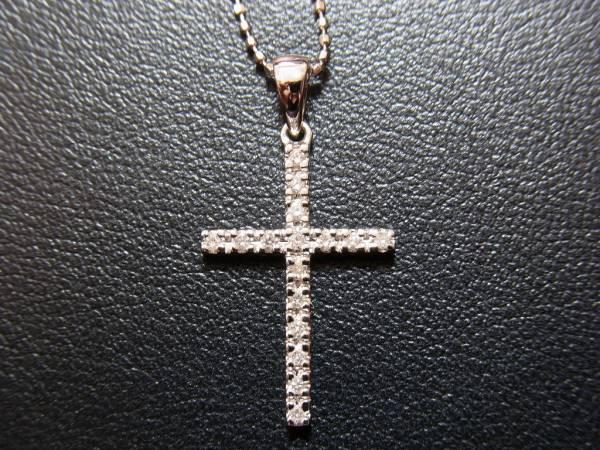 【美品】フォリフォリ K18WG ダイヤ クロス ネックレス 箱付♪_画像2
