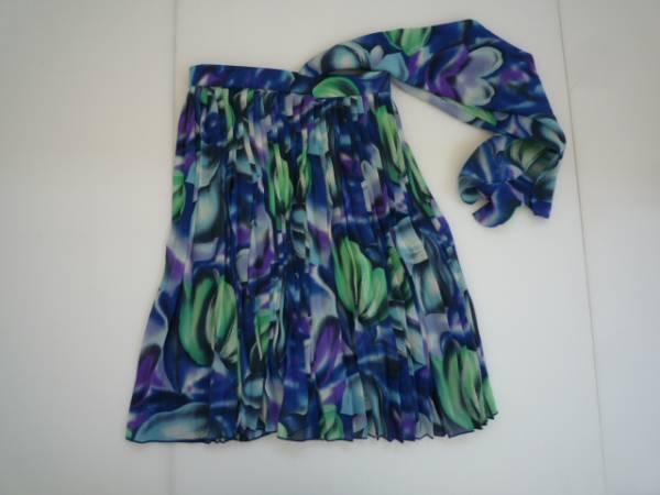 【お買い得!】 ◆ 株式会社 エニー ◆ スカーフ付きスカート 9号 青系