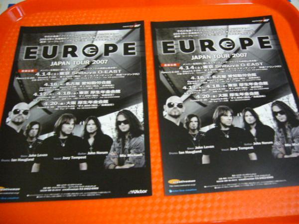 ☆ヨーロッパ EUROPE 2007年来日公演チラシ2枚☆即決