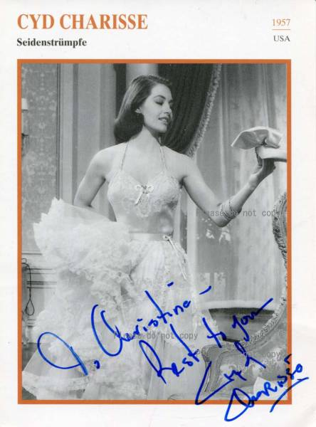 1957年 絹の靴下 シド・チャリシー サイン フォト/他、1枚写真付