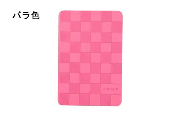 ipad mini3 ケース スタンドタイプ 軽量 チェック柄8色 バラ色