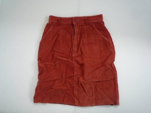 【良品!!】●台形スカート● 赤系 膝丈 コーデュロイ 66-92