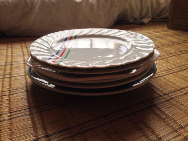 皿 6枚 セット 直径23~25センチ プレート 大皿 昭和レトロ_画像2