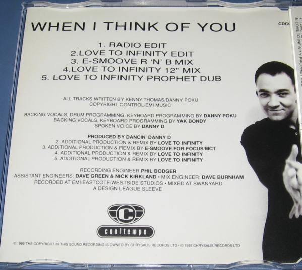 ★CDS★Kenny Thomas/When I Think Of You★E-Smoove R 'N' B Mix★Love To Infinity★ケニー・トーマス★CD SINGLE★シングル★_画像2