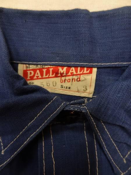 ビンテージ PALL MALL 希少 30S 40S ボーイズ コットン リネン 麻 シャツ デッドストック レア サイズ 13 青 ブルー 珍品 パターン 歪み_画像2