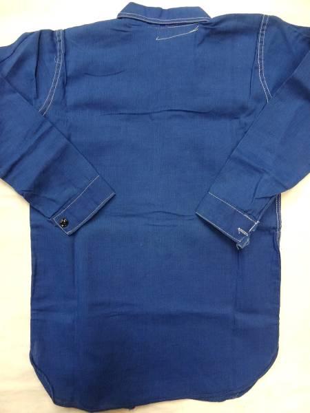ビンテージ PALL MALL 希少 30S 40S ボーイズ コットン リネン 麻 シャツ デッドストック レア サイズ 13 青 ブルー 珍品 パターン 歪み_画像3