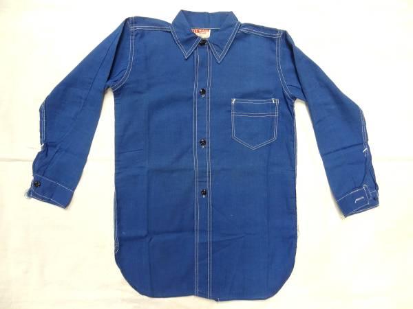 ビンテージ PALL MALL 希少 30S 40S ボーイズ コットン リネン 麻 シャツ デッドストック レア サイズ 13 青 ブルー 珍品 パターン 歪み_画像1