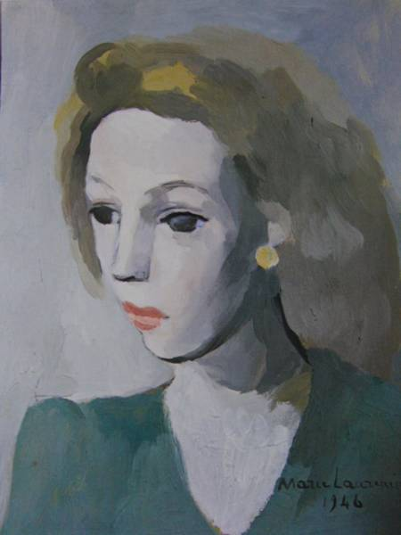 マリー・ローランサン、少女像、超希少額装用画、新品額装付